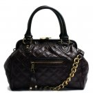 Quilted Kisslock Closure Stam Handbag Purse, Brown