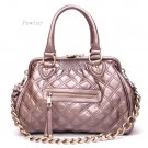 Quilted Kisslock Closure Stam Handbag Purse, Pewter