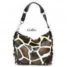 Giraffe Print Women's Carly Handbag Purse, Coffee (122-5029)