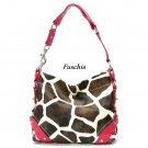 Giraffe Print Women's Carly Handbag Purse, Fuschia (122-5029)