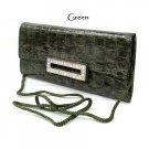 Green Croc Faux Leather Evening Clutch Bag