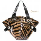 Zebra Print Handbag Purse, Bronze
