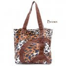 Leopard Print Peace Sign Canvas Handbag Purse, Brown