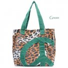 Leopard Print Peace Sign Canvas Handbag Purse, Green