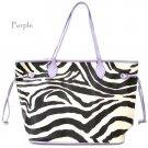 Zebra Print Tote Handbag Purse, L/Purple