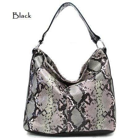 Python Faux Leather Tote Handbag Purse, Black