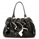 Ruffled Vegan Leather Handbag Purse, Black