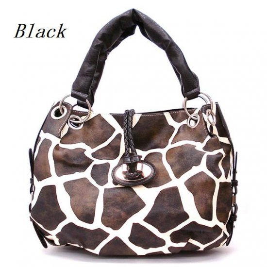 Giraffe Print Women's Tote Handbag Purse, Black (122-1942)