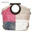 Quilted Patchwork Handbag Purse, Grey/Fuschia