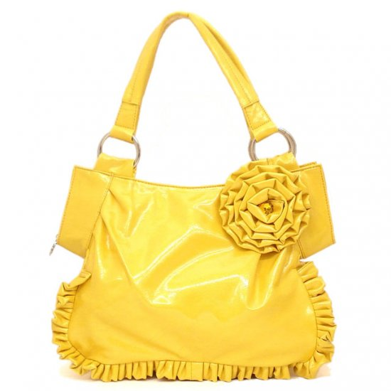 Yellow Flower Accents Ruched Handbag Purse