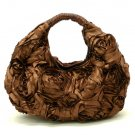 Silky Roses Hobo Handbag Purse, Coffee