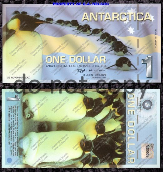 Antarctica $1 Dollar Bill Polymer 2007