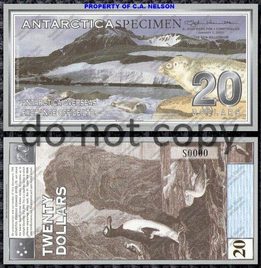 Antarctica $20 Dollar Bill Specimen