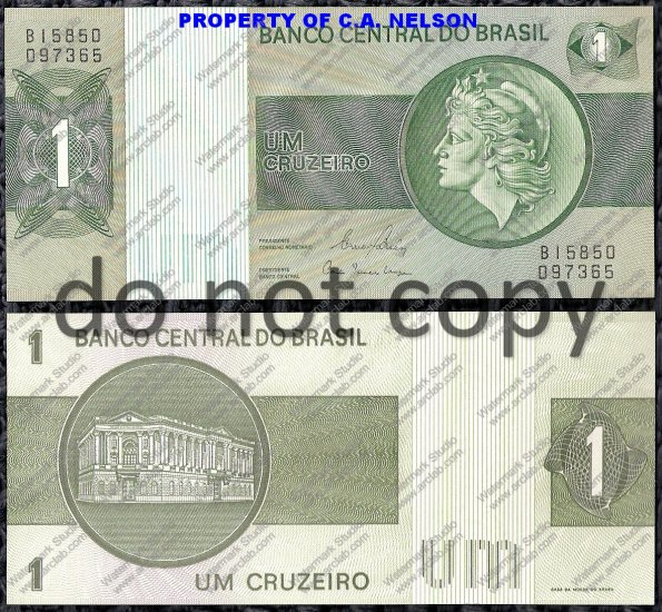 Brazil 1 Cruzerio Foreign Paper Money