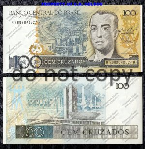 Brazil Paper Money http://foreignbanknotes.ecrater.com/p/7491375/brazil-100-cruzados-foreign-paper-money