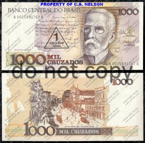 Brazil Paper Money http://www.ecrater.com/p/7491439/brazil-1000-cruzados-foreign-paper-money