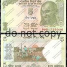 India 5 Rupees Ghandi Foreign Paper Money
