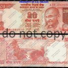 India 20 Rupees Ghandi Foreign Paper Money