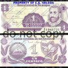 Nicaragua 1 Centavo Foreign Paper Money Banknote