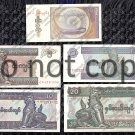 Myanmar 5pc. Kyat Banknote Set Foreign Paper Money