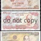 Vietnam 3pc. Dong Banknote Set Foreign Paper Money