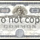 Bond Stores Inc. Old Stock Certificate Blue