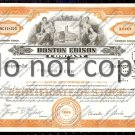 Boston Edison Company Old Stock Certificate Orange