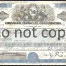 Chrylser Financial Old Stock Certificate Blue
