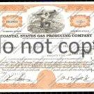 Coastal States Gas Producing Company Old Stock Certificate Orange