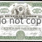 General Foods Corporation Old Stock Certificate Green