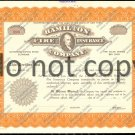 Hamilton Fire Insurance Company Old Stock Certificate