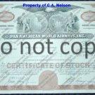 Pan American World Airways Old Stock Certificate Brown