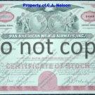 Pan American World Airways Old Stock Certificate Red