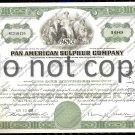 Pan American Sulphur Company Old Stock Certificate Green