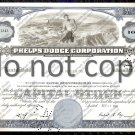 Phelps Dodge Corporation Old Stock Certificate Blue
