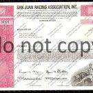 San Juan Racing Association Old Stock Certificate Pink