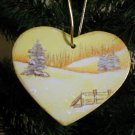 Gold Heart Winter Tree and Fence Scene