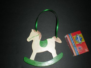 White & Green Rockinghorse Gift Tag Ornament