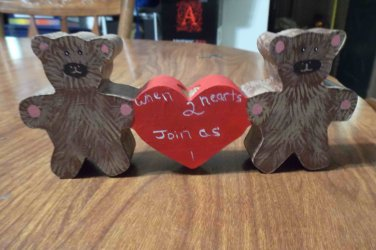 2 Hearts Bears Candle Holder
