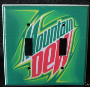MOUNTAIN DEW DOUBLE LIGHT SWITCH COVER  Unique Look!