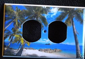 ISLAND PALM TREES OUTLET COVER horizontal instal *Beach