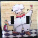 FAT CHEF WITH WINE DOUBLE LIGHT SWITCH COVER *Look!