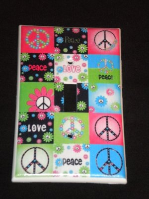 Neon PEACE SIGNS & FLOWERS LIGHT SWITCH COVER CUTE!