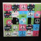 Neon PEACE SIGNS & FLOWERS DOUBLE LIGHT SWITCH COVER