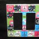 Neon PEACE SIGNS & FLOWERS DOUBLE LIGHT SWITCH Rocker
