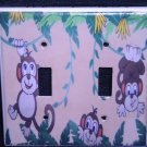 MONKEYS DOUBLE LIGHT SWITCH COVER Playful Monkeys Cute