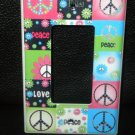 Neon PEACE SIGNS & FLOWERS LIGHT SWITCH Rocker / GFI
