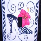 ZEBRA HIGH HEEL Hot PINK Flower LIGHT SWITCH COVER