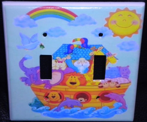 NOAHS ARK DOUBLE LIGHT SWITCH Cover CUTE!  *LOOK*