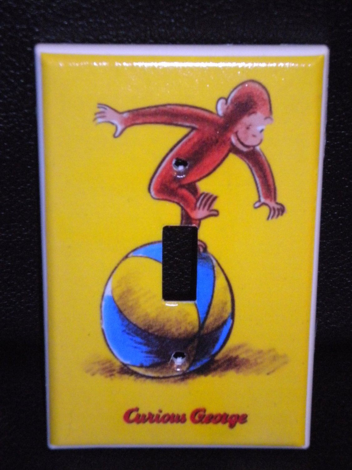CURIOUS GEORGE LIGHT SWITCH COVER Monkey on ball yellow